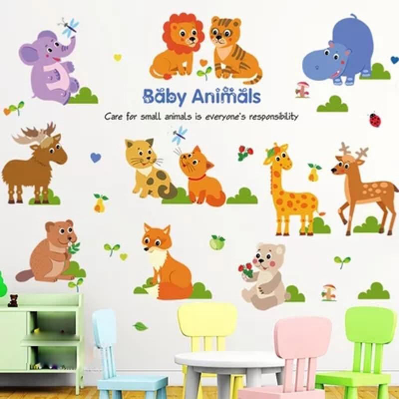 可爱的小动物 幼儿园卡通背景墙儿童房贴纸贴画 河马小象朋友 超大