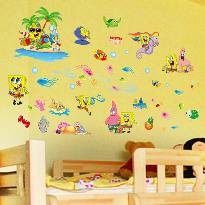 卡通动漫宝宝墙贴儿童房幼儿园装饰海绵宝宝墙画浴室海洋鱼贴纸
