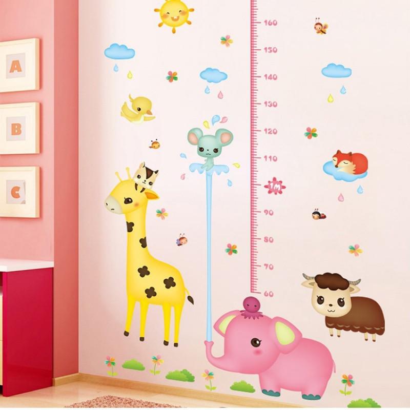 卡通身高贴墙贴儿童房幼儿园装饰品宝宝早教测量身高尺贴纸可移除
