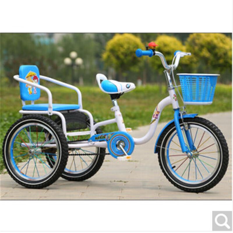 儿童脚踏三轮车带斗宝宝双人自行车可带人