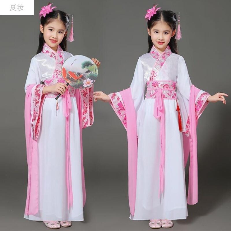 夏妝 新款兒童古裝七仙女服裝女童唐裝漢服貴妃公主裙小女孩古箏表演