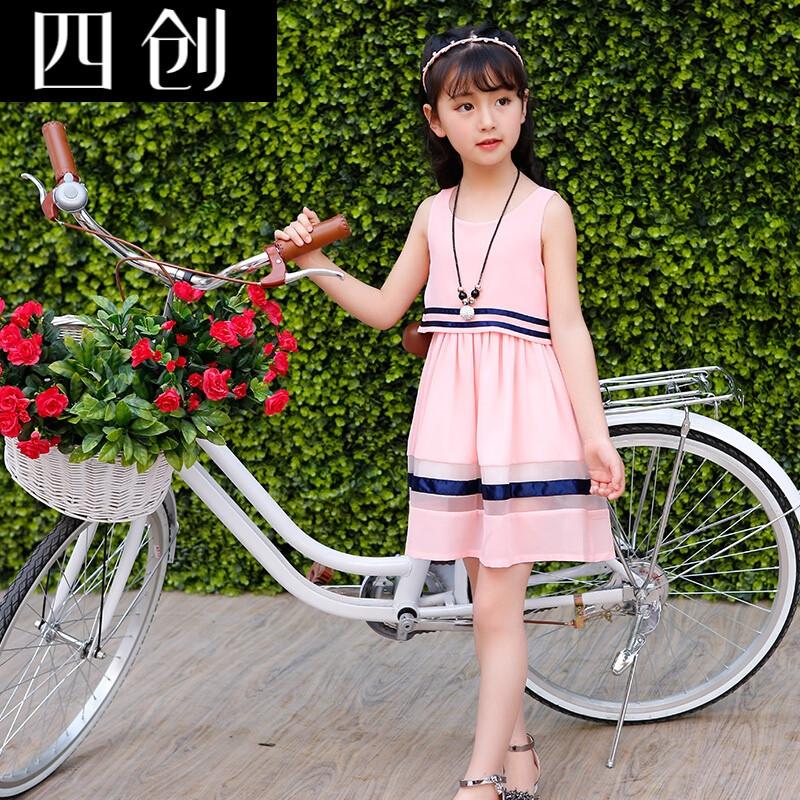 女童连衣裙夏季2017新款大童夏装12儿童13小女孩背心雪纺裙子15岁