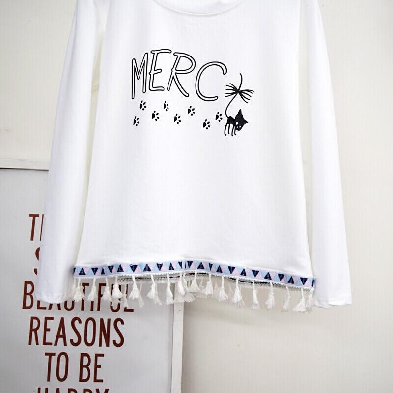 2017秋季新款少女装初中生高中生中学生可爱甜美女生长袖t恤上衣白色
