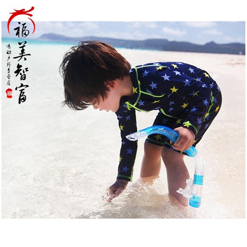 游泳海边度假新款儿童连体泳衣男童女童长袖沙滩中裤冲浪浮潜海边泳装