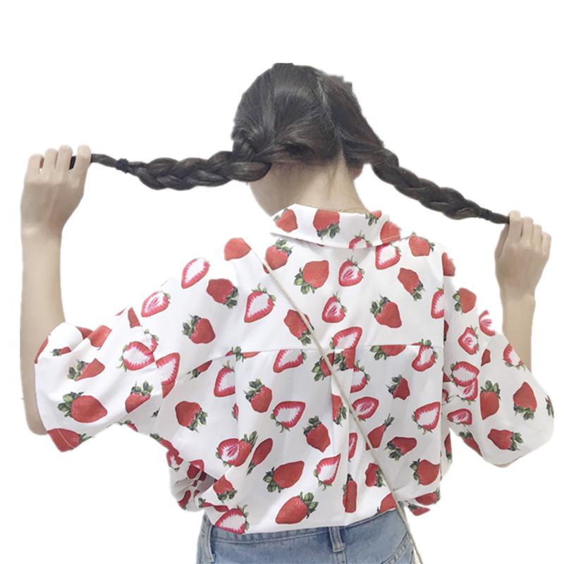 828新款夏装女装韩版小清新可爱草莓宽松v领衬衫短袖显瘦衬衣学生上衣