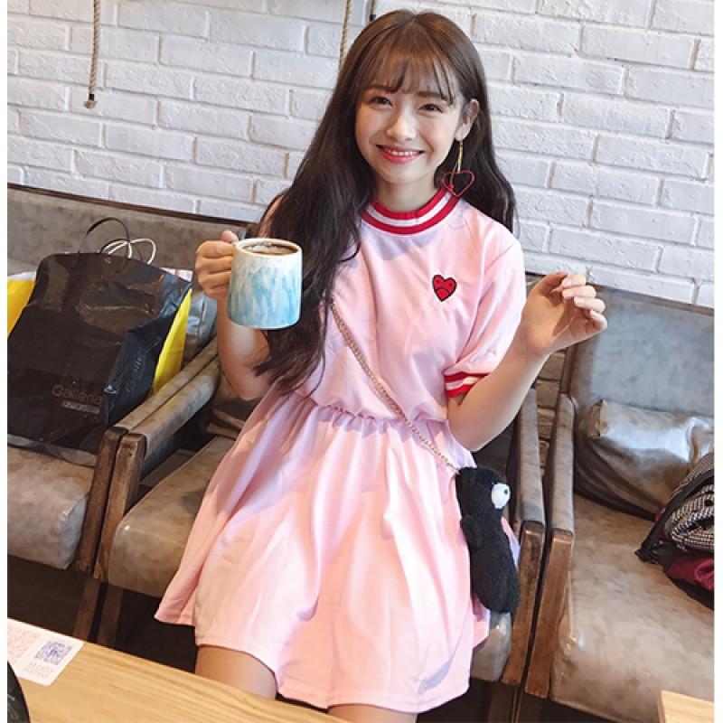 828新款日系软妹春夏女装可爱爱心刺绣收腰短袖连衣裙