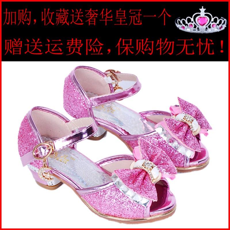 2017新款女童凉鞋2017新款韩版夏季公主鞋儿童高跟鞋小女孩冰雪奇缘