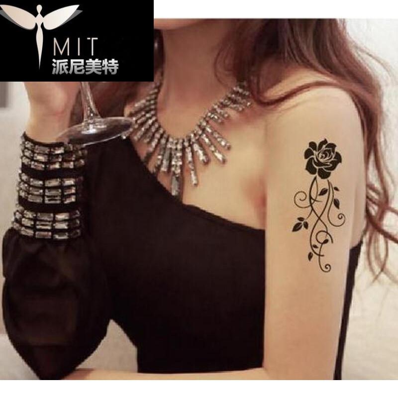 唯美清新花藤防水纹身贴纸 女款花藤胸口手腕黑白纹身贴玫瑰花朵图片
