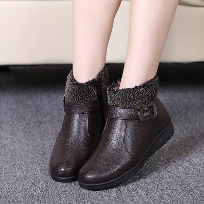 新款冬媽媽棉鞋中老年加絨女靴子老人女棉鞋女士HLP AN-71
