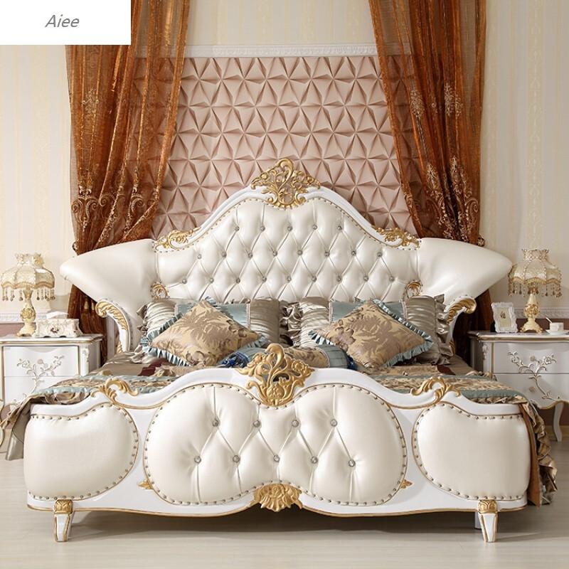 aiee欧式床实木床古典床双人床1.8美式简欧床主卧婚床家具单床图片