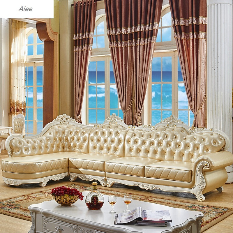 aiee欧式真皮沙发123组合实木雕花客厅家具真皮沙发头