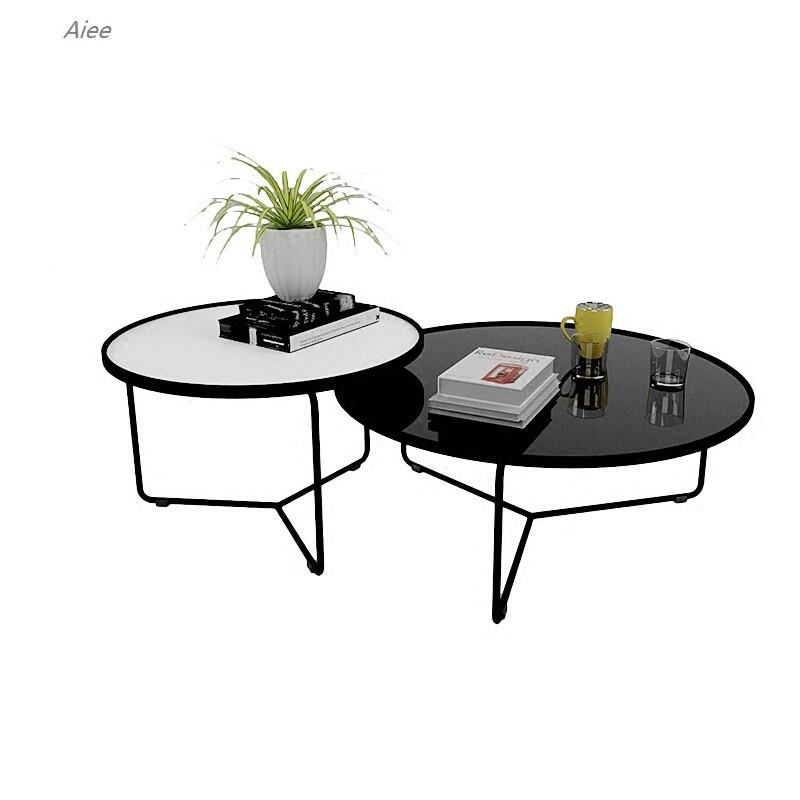 aiee简约现代沙发茶几小户型北欧客厅铁艺茶几组合圆形金属玻璃茶几90