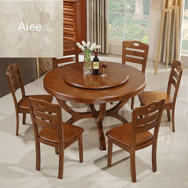 aiee实木圆桌酒店橡木大圆桌带转盘圆形实木餐桌椅组合6人饭桌子餐台
