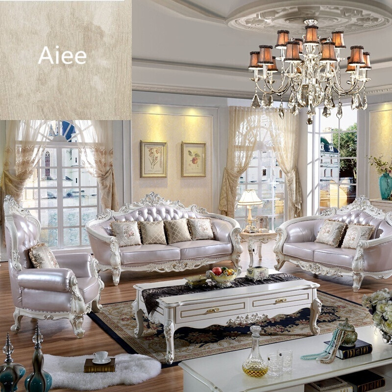 aiee欧式真皮沙发组合全实木雕花法式简约大户型别墅三人位图片色