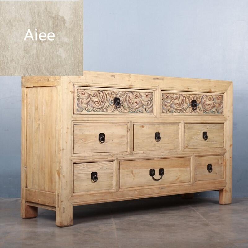 aiee实木餐边柜新中式储物柜雕花彩漆斗柜客厅玄关边柜仿古电视柜