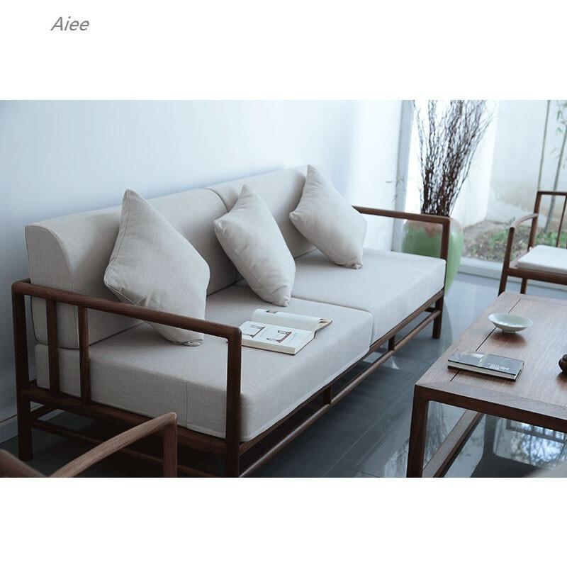aiee中式沙发北美黑胡桃家具中式沙发实木沙发茶几组合边几中式沙发