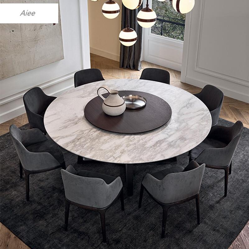 aiee北欧实木圆餐桌椅组合6理石圆形餐桌简约现代圆桌子4人饭桌