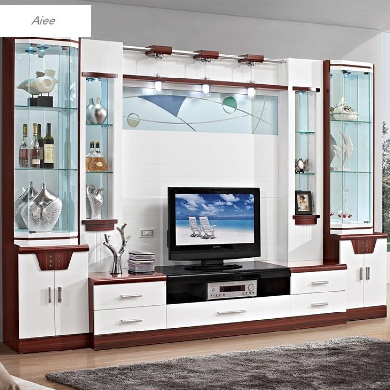 aiee大户型简约现代电视柜组合背景墙整体影视墙地柜中式酒柜组装家具