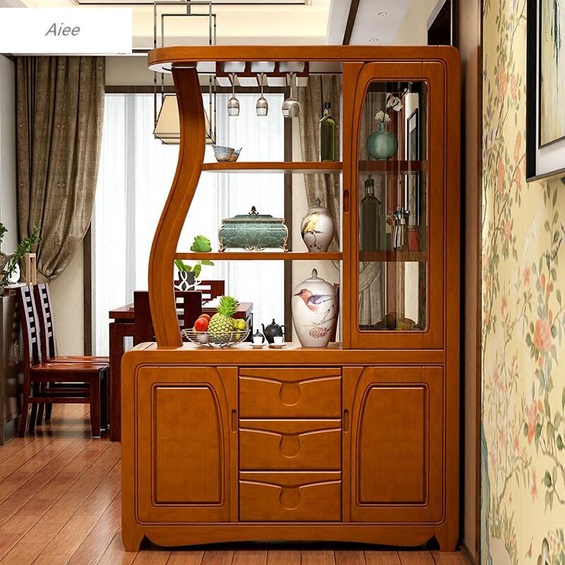 aiee现代中式实木间厅柜餐厅客厅家具隔断柜装饰屏风玄关柜鞋柜酒架