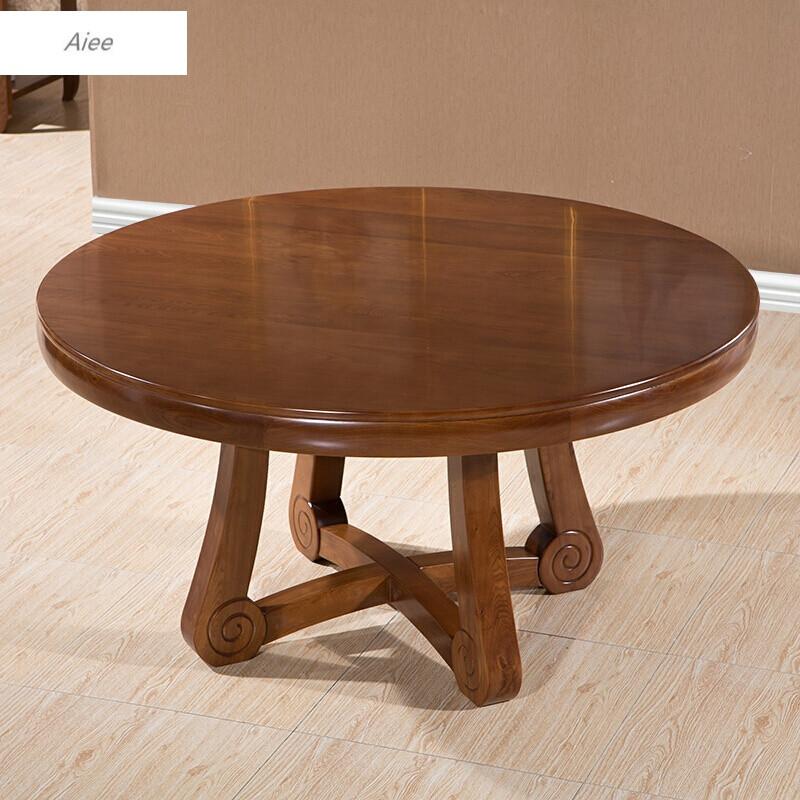 aiee新中式圆形餐桌全实木餐桌椅组合榆木饭餐台带转盘旋转6人8人饭桌