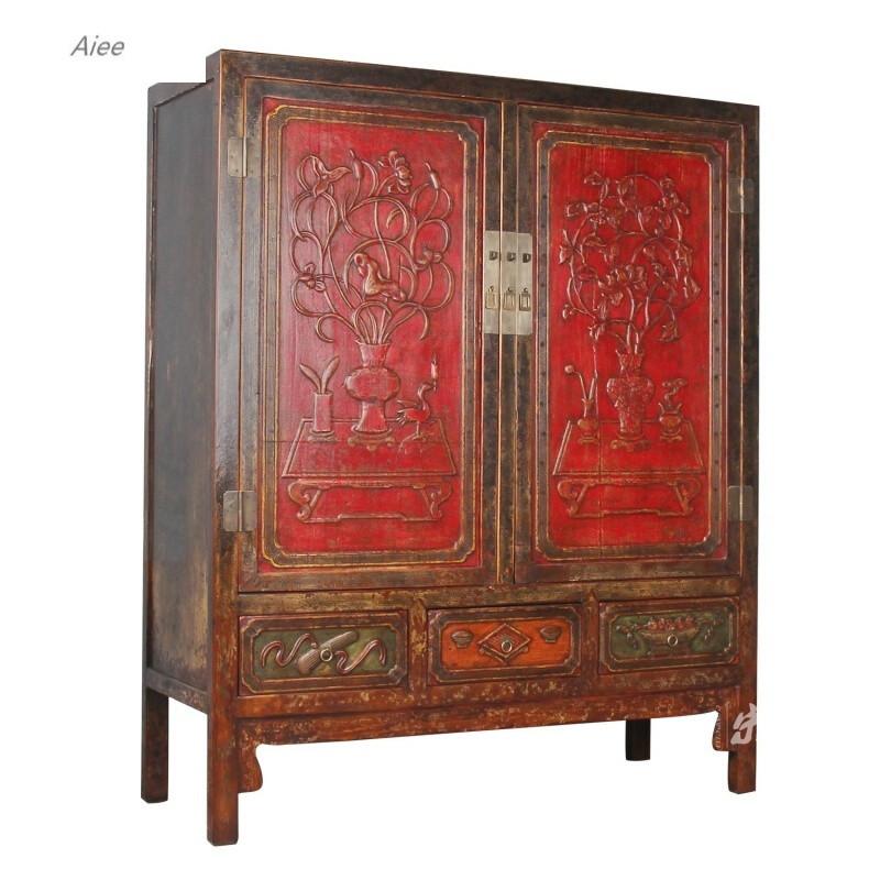 aiee仿古中式雕花衣柜大立柜储物柜复古实木雕花柜餐厅会所立柜装饰柜