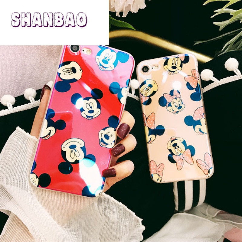 shanbao情侣iphone8x7plus手机壳苹果可爱卡通镭射蓝光软胶6s防摔保护