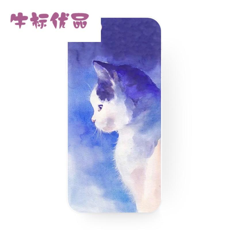 牛标优品浅紫色手绘可爱小猫咪苹果iphonexi8plusi6i7