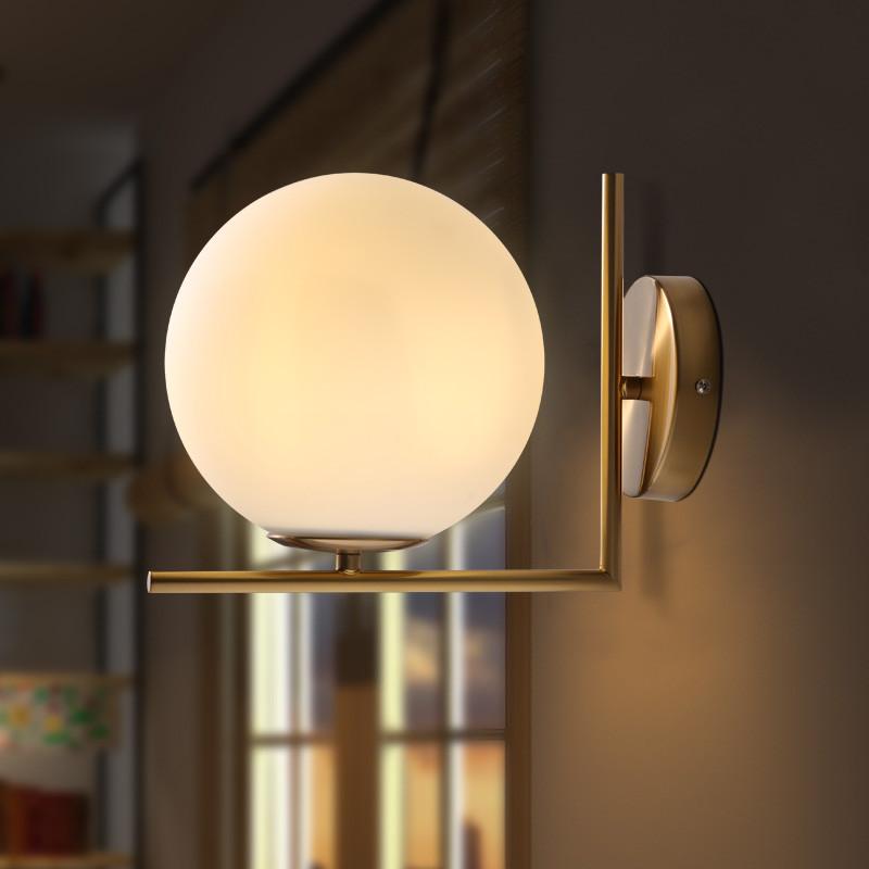 現代簡約北歐創意個性客廳臥室床頭酒店餐廳陽臺走廊過道圓形壁燈