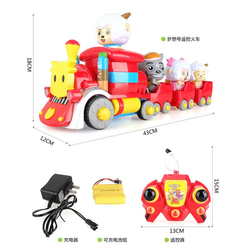喜羊羊与灰太狼电动遥控车嘻哈闯世界儿童玩具火车热播动漫卡通车