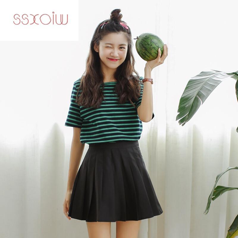 ssxoiw2017新款韩版高腰裙子a字裙白色百褶裙夏半身裙