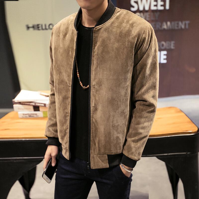 愛擁者冬季青年燈芯絨棉衣男士大碼純色韓版學生短款保暖棉襖棒球服外圖片