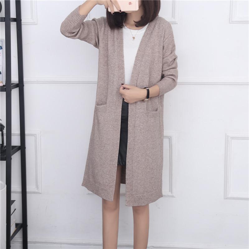 中长款毛衣外套女针织衫开衫2017春秋季新款女装