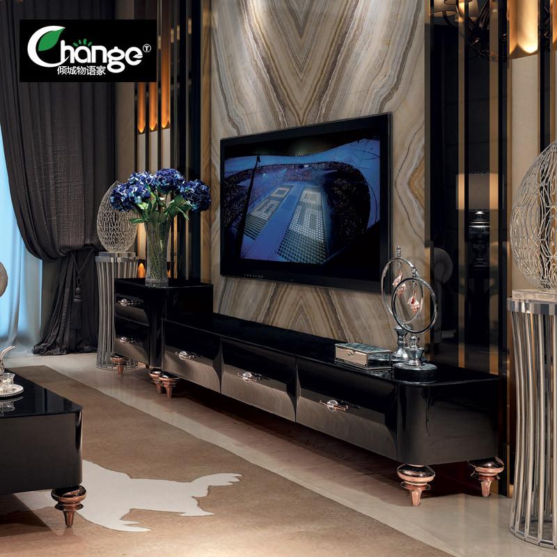 新古典后现代电视柜欧式钢化玻璃茶几组合黑色钢琴烤漆简约地柜