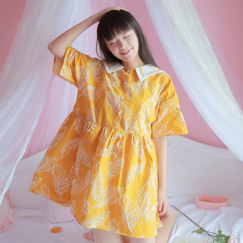 日系海军大翻领可爱印花短袖宽松连衣裙软妹黄色娃娃裙