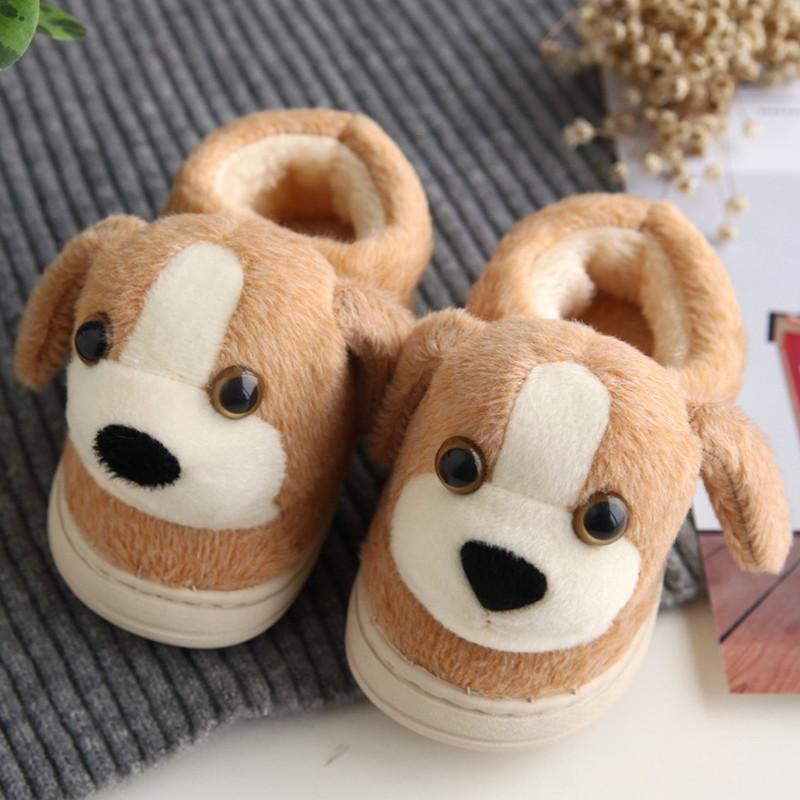 1-8岁防滑底棉鞋卡通可爱儿童棉拖鞋毛绒包跟动物鞋冬天居家鞋子