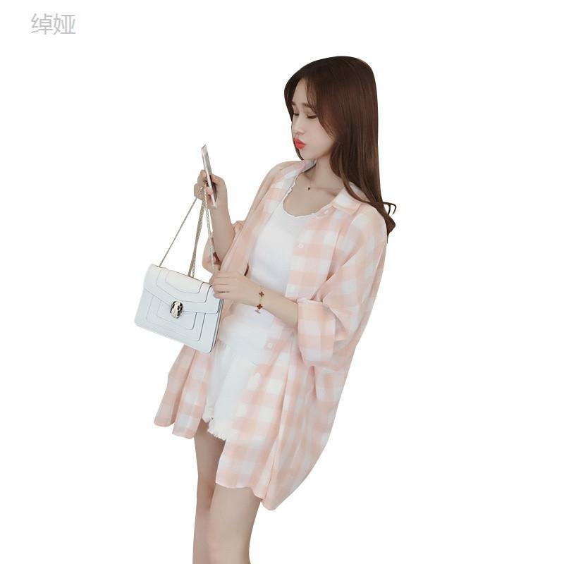 绰娅bf原宿风格子衬衫女 长袖宽松外搭上衣 春季百搭学生衬衣休闲女装