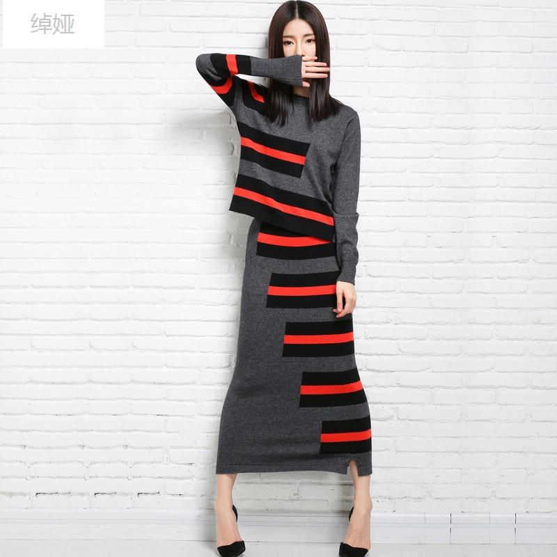 绰娅16秋装新款针织羊绒衫套装套裙两件套毛衣早秋半身裙女小香风