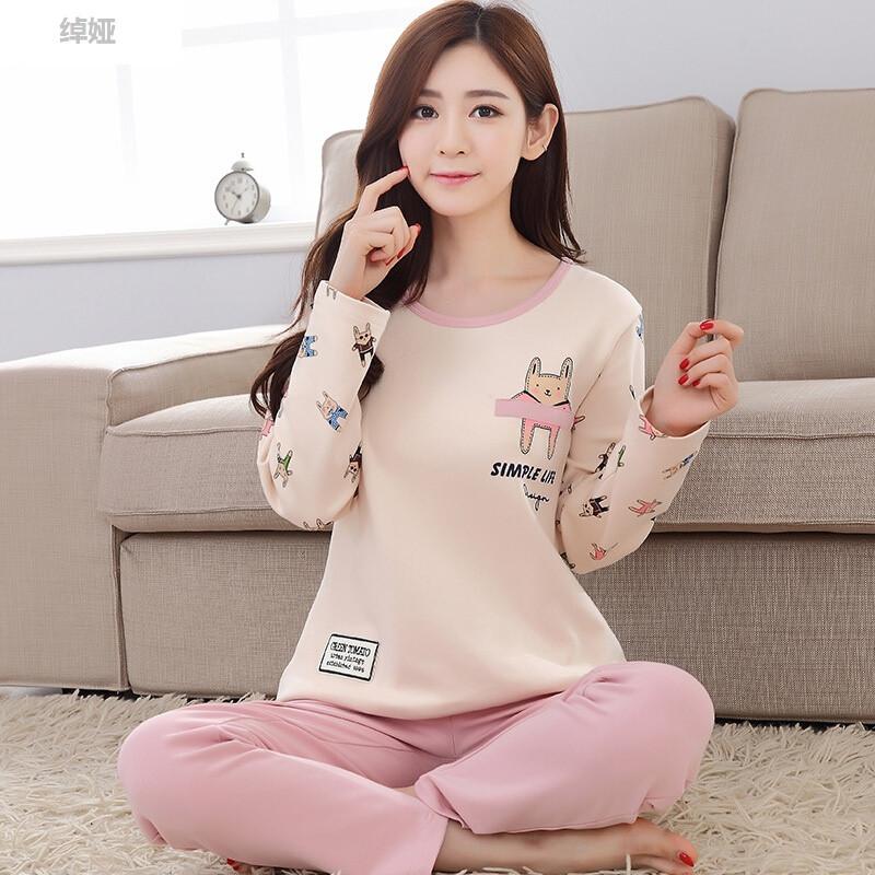 绰娅韩版春夏女士卡通薄款长袖学生可爱清新睡衣加大码秋季家居服套装