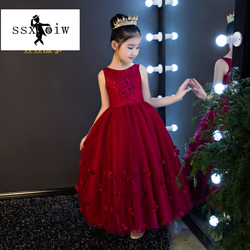 ssxoiw新款儿童礼服红色长裙公主裙女童婚纱蓬蓬裙花童女孩走秀演出服