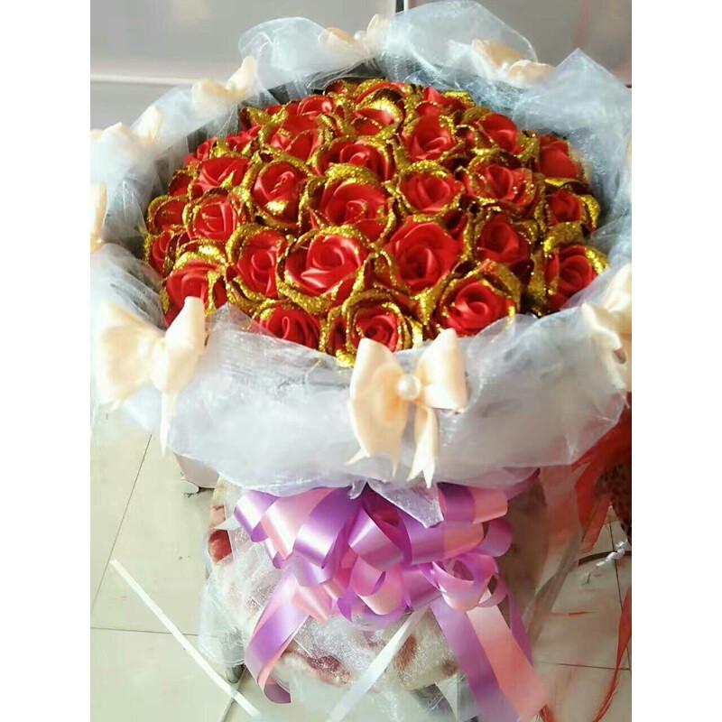 厂家4cm厘米玫瑰花缎带彩带丝带绸带节日结婚装饰椅背