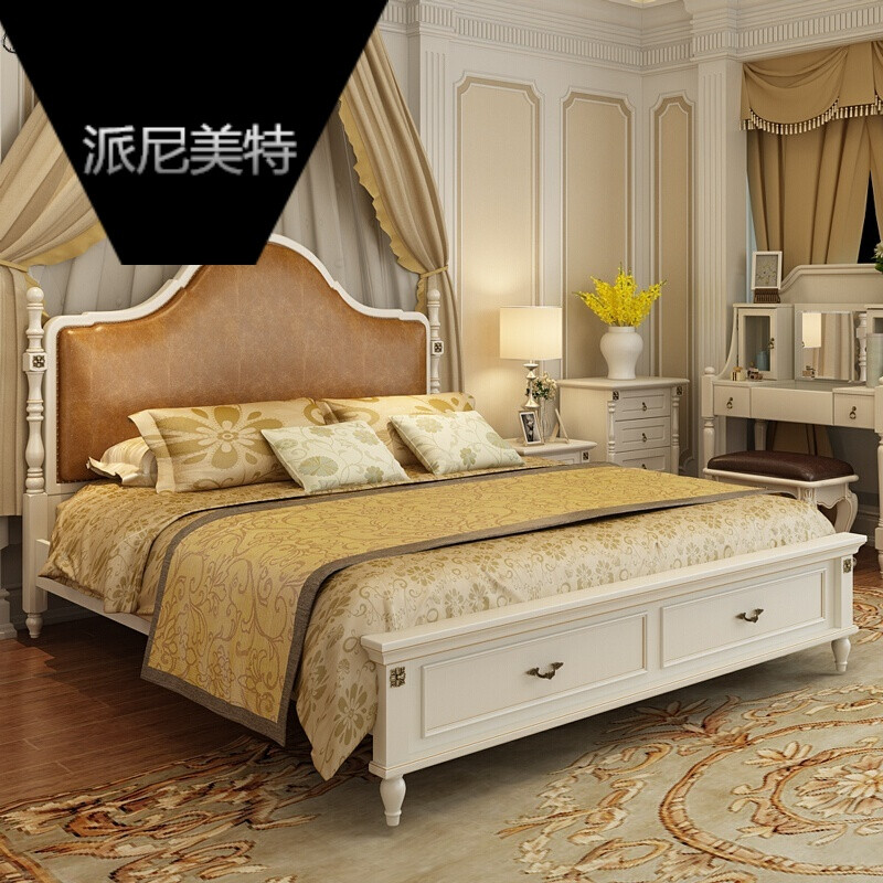 实木床双人床卧室储物高箱抽屉欧式乡村风格地中海婚床白色美式床排骨图片