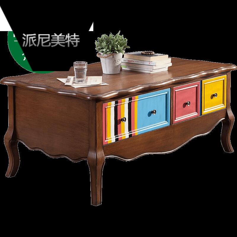 美式乡村风客厅茶桌室内客厅长方形茶几实木小茶桌桌.图片