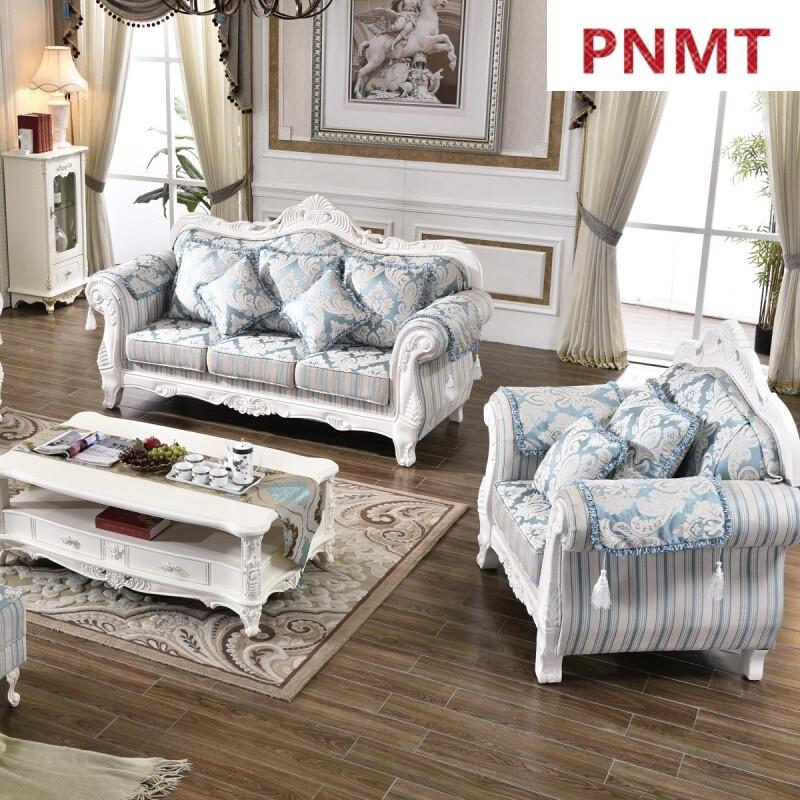 pnmt欧式布艺沙发客厅欧式田园沙发拆洗白色实木新款欧式沙发组合 贵