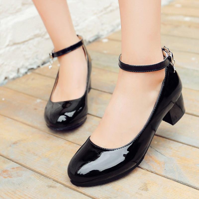 儿童高跟鞋秋季公主鞋女童皮鞋中大童单鞋冬季小女孩学生鞋黑色