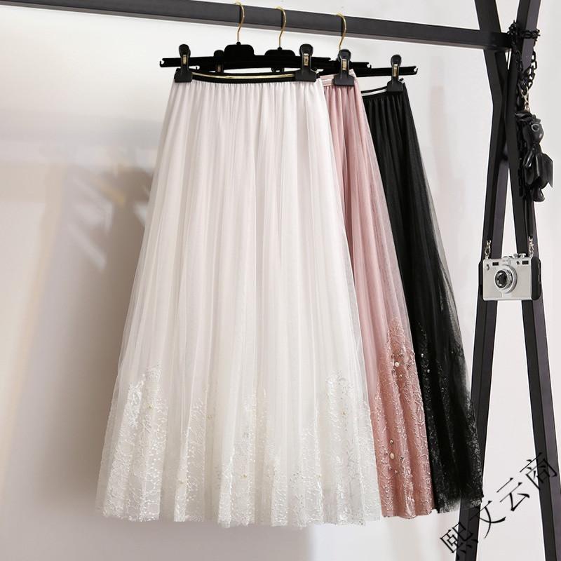 2018春装新款蕾丝网纱半身裙高腰显瘦中长款a字裙白色百褶裙女裙