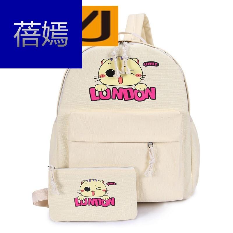 新款小猫印花双肩休闲百搭学生书包旅行包