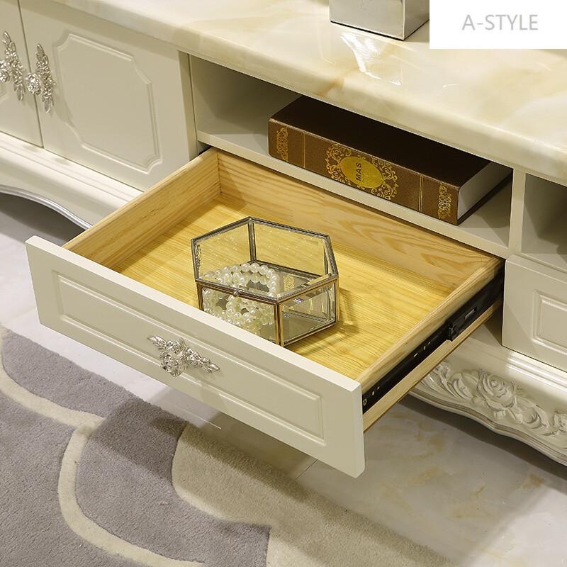 组合欧式客厅小户型大理石原木简约地柜家具套装欧式雕花象牙白描银