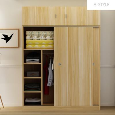 A-STYLE简约现代推拉移门衣柜2门实木质柜子定制卧室整体组装板式经济型F款加顶柜(颜色
