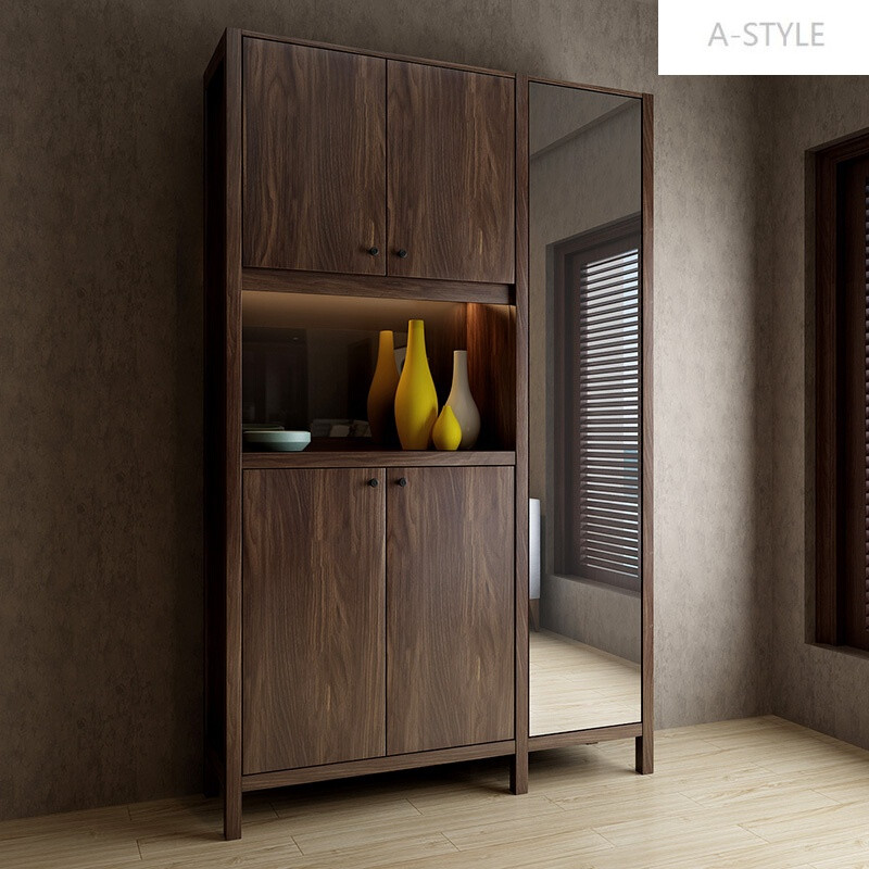 a-style鞋柜门厅柜简约现代北欧带镜子组合大容量玄关柜隔断柜客厅储