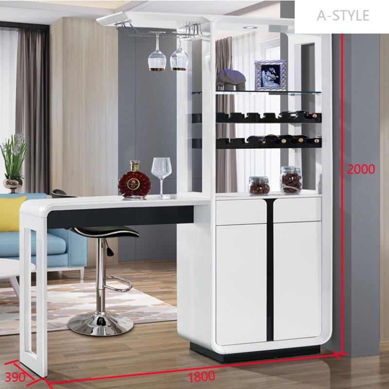 a-style客廳黑白簡約吧臺隔斷柜玄關烤漆酒柜多功能組合雙面間廳柜1.